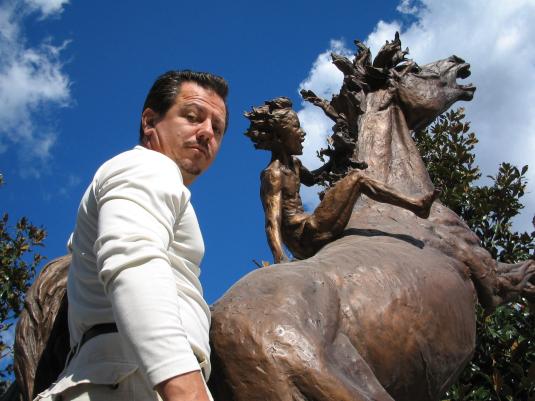 La forza dell'entusiasmo verso il futuro c cod'144 cm.350-2003_monumenti-in-bronzo-statue-sculture-per-giardino-scultura statua cavallo animali