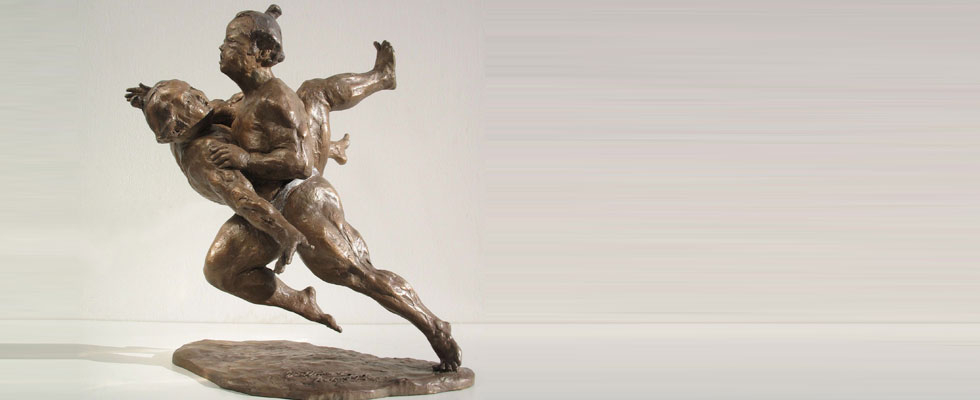 Statua in bronzo lottatori-combattenti-sumo-arti-marziali